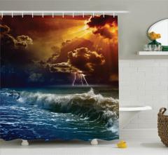 Gün Batımı Temalı Duş Perdesi Turuncu Lacivert Deniz