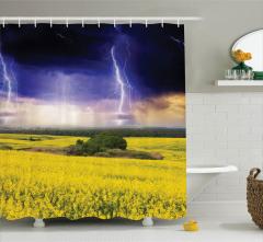 Yağmur Temalı Duş Perdesi Lacivert Sarı Çiçek Bulut