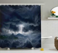 Fırtına Temalı Duş Perdesi Gökyüzü Bulut Yağmur