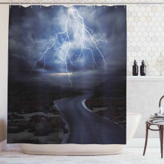 Fırtınalı Yol Temalı Duş Perdesi Yağmur Yıldırım