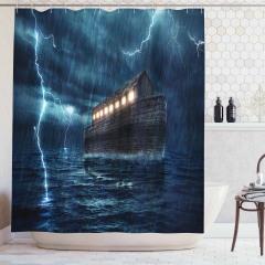 Nuh'un Gemisi Temalı Duş Perdesi Yağmur Deniz Dalga