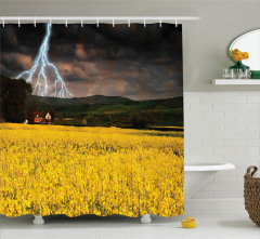 Bahar Yağmuru Temalı Duş Perdesi Sarı Çiçek Gökyüzü