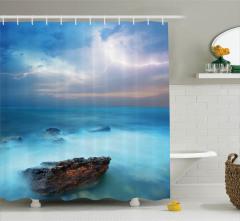 Turkuaz Deniz Manzaralı Duş Perdesi Gökyüzü Bulut