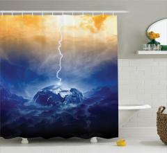 Dünya ve Yağmur Temalı Duş Perdesi Lacivert Gökyüzü