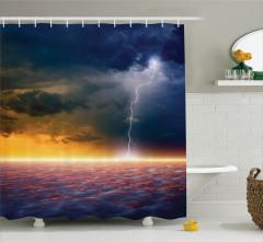 Yağmur Bulutları Desenli Duş Perdesi Deniz Lacivert