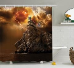 Kale Manzaralı Duş Perdesi Deniz Gökyüzü Bulut Kaya