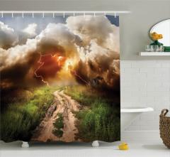 Yol ve Yıldırım Temalı Duş Perdesi Bulut Yağmur