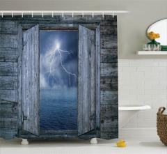 Yağmurlu Gece Temalı Duş Perdesi Ahşap Pencere Deniz