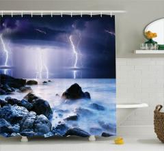 Deniz ve Yağmur Temalı Duş Perdesi Lacivert Gökyüzü