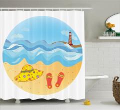 Yaz Tatili Temalı Duş Perdesi Deniz Feneri Kumsal