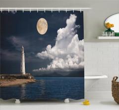 Deniz Feneri Manzaralı Duş Perdesi Romantik Ay Işığı