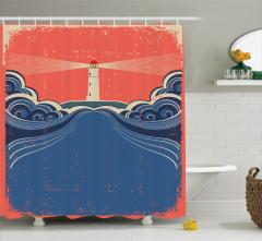 Deniz Feneri Temalı Duş Perdesi Kirli Görünümlü
