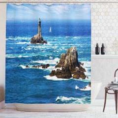 Deniz Feneri Manzaralı Duş Perdesi Okyanus Yelkenli