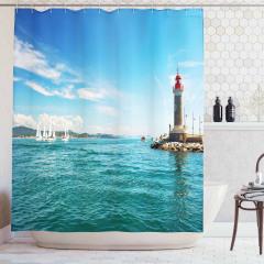 Deniz Feneri Manzaralı Duş Perdesi Yelkenli Turkuaz