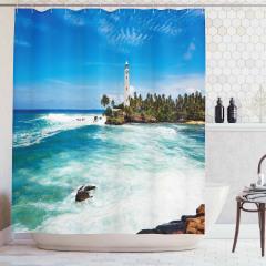 Tropik Ada Manzaralı Duş Perdesi Deniz Feneri Mavi