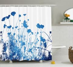 Mavi Çiçek Desenli Duş Perdesi Şık Tasarım Çeyizlik