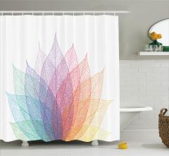 Yaprak Desenli Duş Perdesi Rengarenk Şık Çeyizlik
