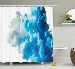 Girdap Temalı Duş Perdesi Mavi Beyaz Şık Tasarım