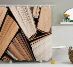 Kitap Desenli Duş Perdesi Kahverengi Bej Edebiyat