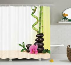 Çiçek ve Bambu Desenli Duş Perdesi Yeşil Şık Tasarım