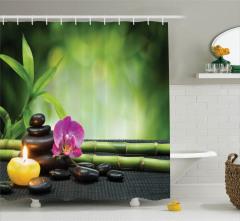 Orkide ve Bambu Temalı Duş Perdesi Mor Yeşil Mum