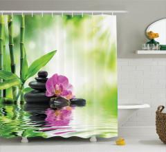 Spa Temalı Duş Perdesi Orkide Bambu Yeşil Mor Taş Su
