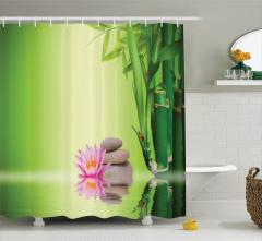 Zen Bahçesi Temalı Duş Perdesi Yeşil Çiçek Terapi