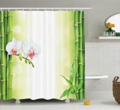 Beyaz Orkide Desenli Duş Perdesi Yeşil Bambu Terapi