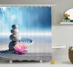 Zen Bahçesi Temalı Duş Perdesi Spa Taşları Mavi Gri