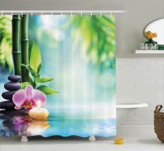Terapi Temalı Duş Perdesi Bambu Çiçek Taş Turkuaz