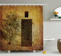 Kapı Desenli Duş Perdesi Nostaljik Çiçek Kahverengi