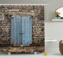 Ahşap Kapı Temalı Duş Perdesi Mavi Kahverengi Eski