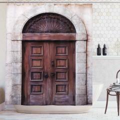 Kahverengi Ahşap Kapı Temalı Duş Perdesi Nostaljik