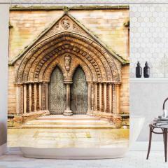 Katedral Kapısı Temalı Duş Perdesi Kahverengi Gotik