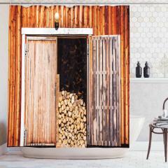 Odun ve Ahşap Kapı Temalı Duş Perdesi Kahverengi