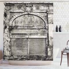 Kapı Temalı Duş Perdesi Siyah Beyaz Nostaljik Ahşap