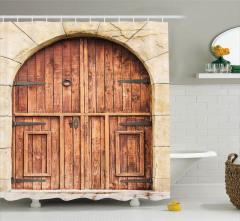 Ahşap Kapı Desenli Duş Perdesi Antik Kahverengi