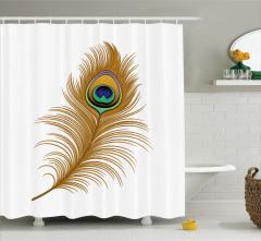 Kuş Tüyü Desenli Duş Perdesi Kahverengi Yeşil Şık