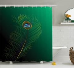 Kuş Tüyü Desenli Duş Perdesi Yeşil Mavi Şık Tasarım