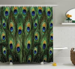 Tavus Kuşu Desenli Duş Perdesi Yeşil Lacivert Şık