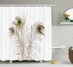 Kuş Tüyü Desenli Duş Perdesi Kahverengi Beyaz Şık