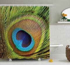 Tavus Kuşu Temalı Duş Perdesi Yeşil Kahverengi Mavi