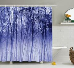 Sisli Orman Manzaralı Duş Perdesi Mavi Ağaç Doğa
