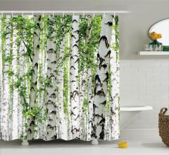 Ağaç Temalı Duş Perdesi Yeşil Beyaz Orman Yaprak