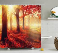 Sonbahar Temalı Duş Perdesi Kırmızı Yaprak Ağaç
