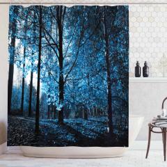 Sonbahar Temalı Duş Perdesi Mavi Orman Ağaç Yaprak