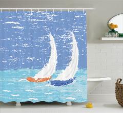 Yat Desenli Duş Perdesi Deniz Mavi Beyaz Dalga Boya