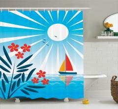 Deniz ve Yelkenli Desenli Duş Perdesi Mavi Çiçek