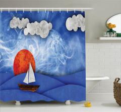 Deniz Güneş ve Yelkenli Desenli Duş Perdesi Lacivert