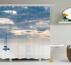 Denizde Gün Batımı Temalı Duş Perdesi Gökyüzü Bulut